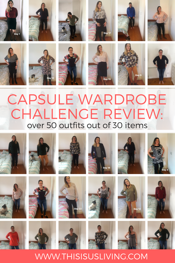 A few months ago I decided to document how many outfits I could wear out of my capsule wardrobe of 30 clothing items. Here is the review of this challenge. Over 55 outfits using 24 clothing items