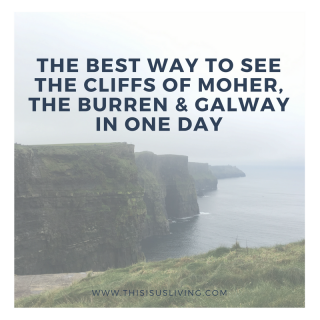 Here is a comprehensive list of what to expect when you visit the Cliffs of Moher, the Burren and Galway in one day. I know bus tours go against most avid travel bloggers code of authentic tourist travel, but we don't yet own a car, and so it makes it a bit of a challenge to get to these places. It's easy enough to get from Dublin to Galway on a bus, but getting out in the country and having the flexibility to stop at the various sight-seeing spots is not so feasible when you are using public transport alone. What is most important is choosing the right bus tour to take.