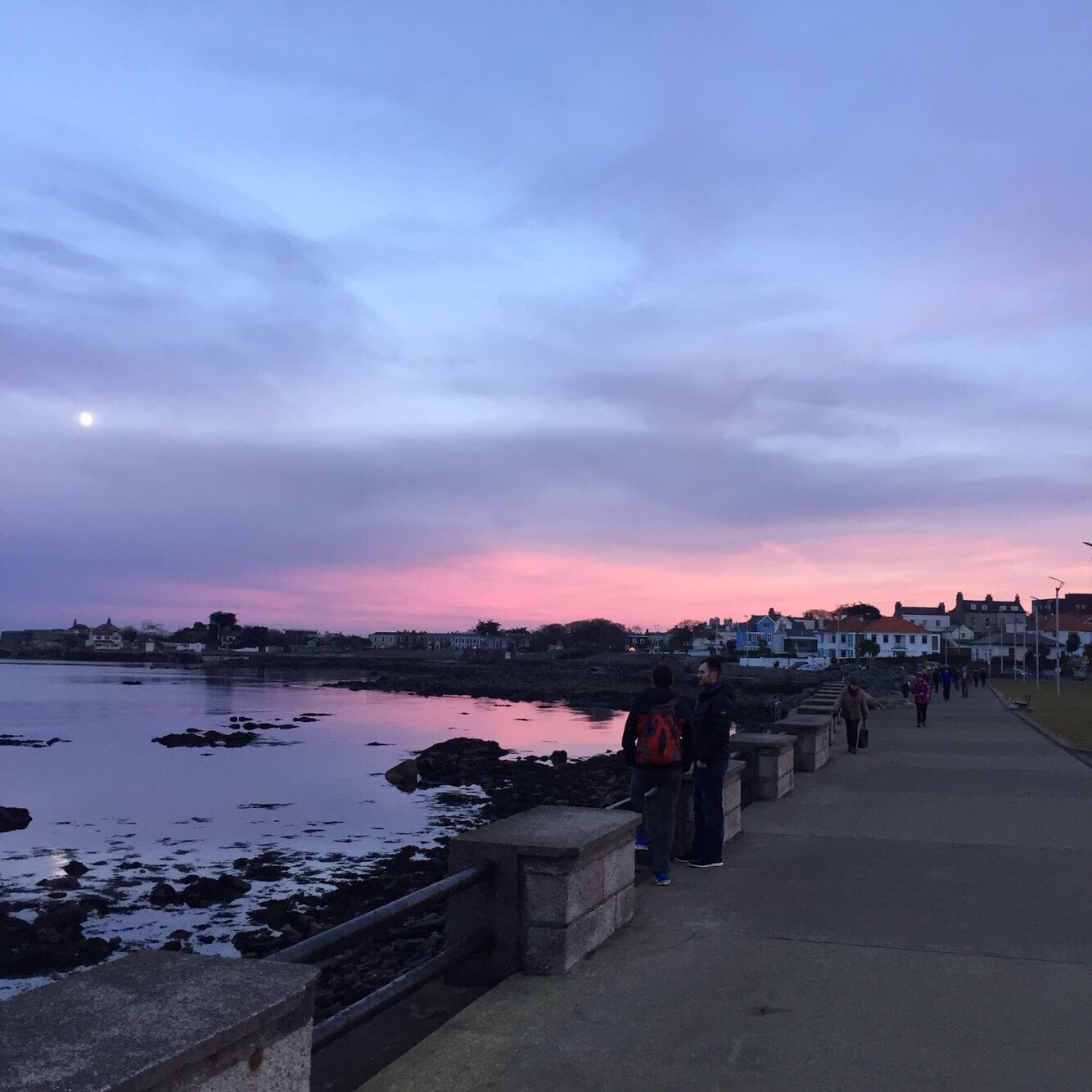 Cotton candy sunset along Dun Laoghaire promenade, county Dublin, Ireland