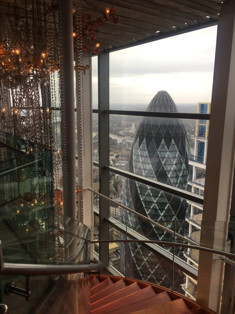Duck & Waffle Restaurant with view of the Gherkin